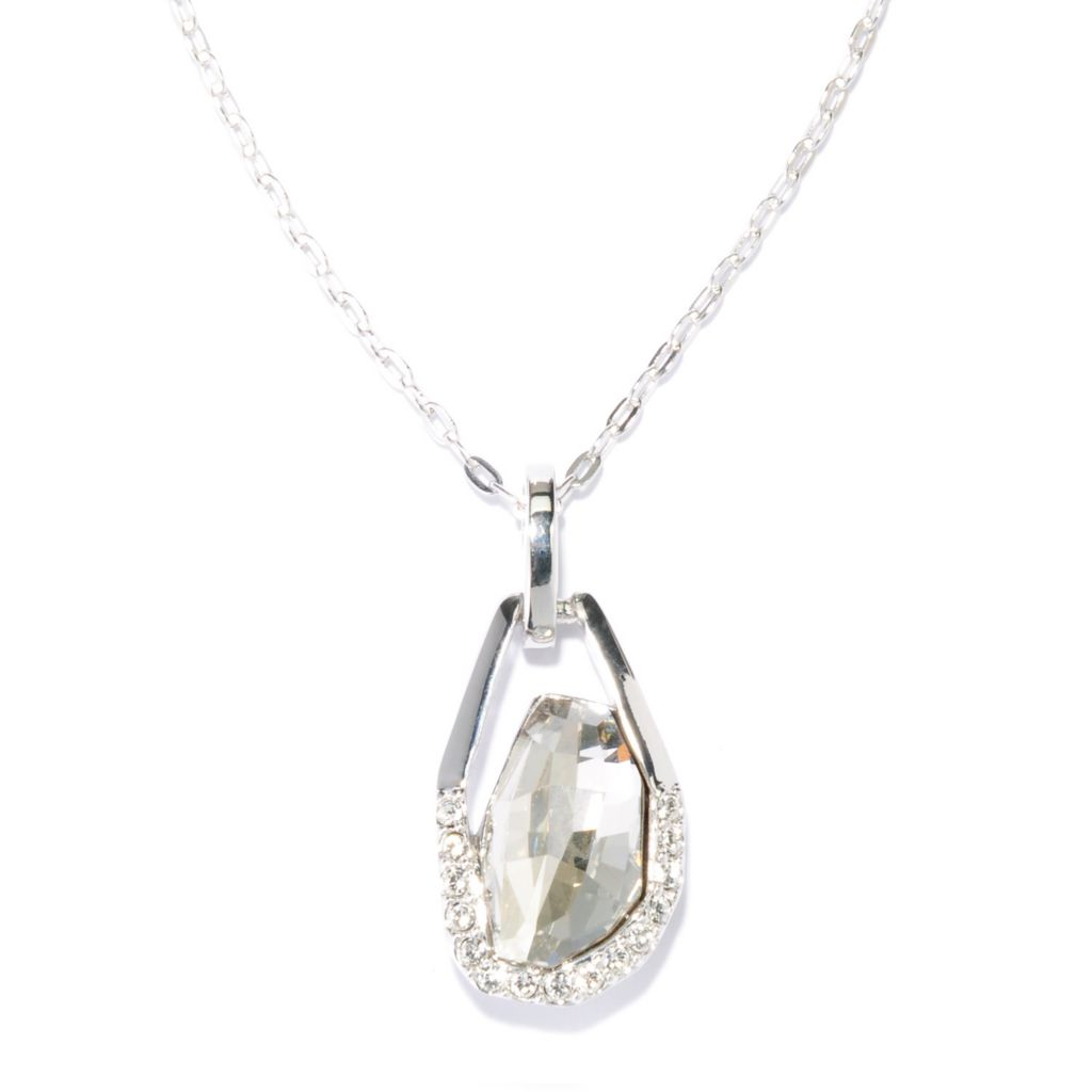 "136-152 - Adaire™ 18"" Sterling Silver Drop Necklace Made w/ Swarovski® Elements"
