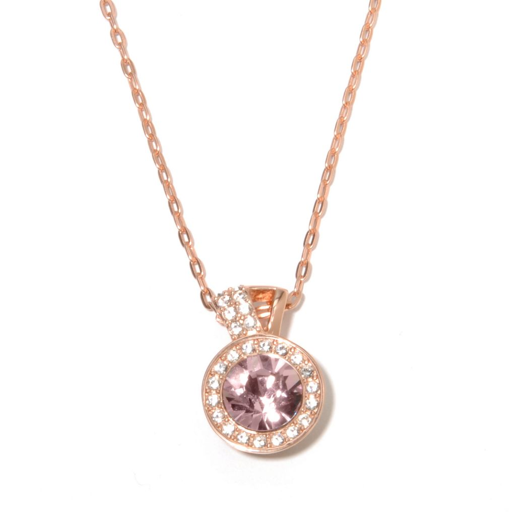 "136-156 - Adaire™ Sterling Silver 18"" Halo Drop Necklaces Made w/ Swarovski® Elements"