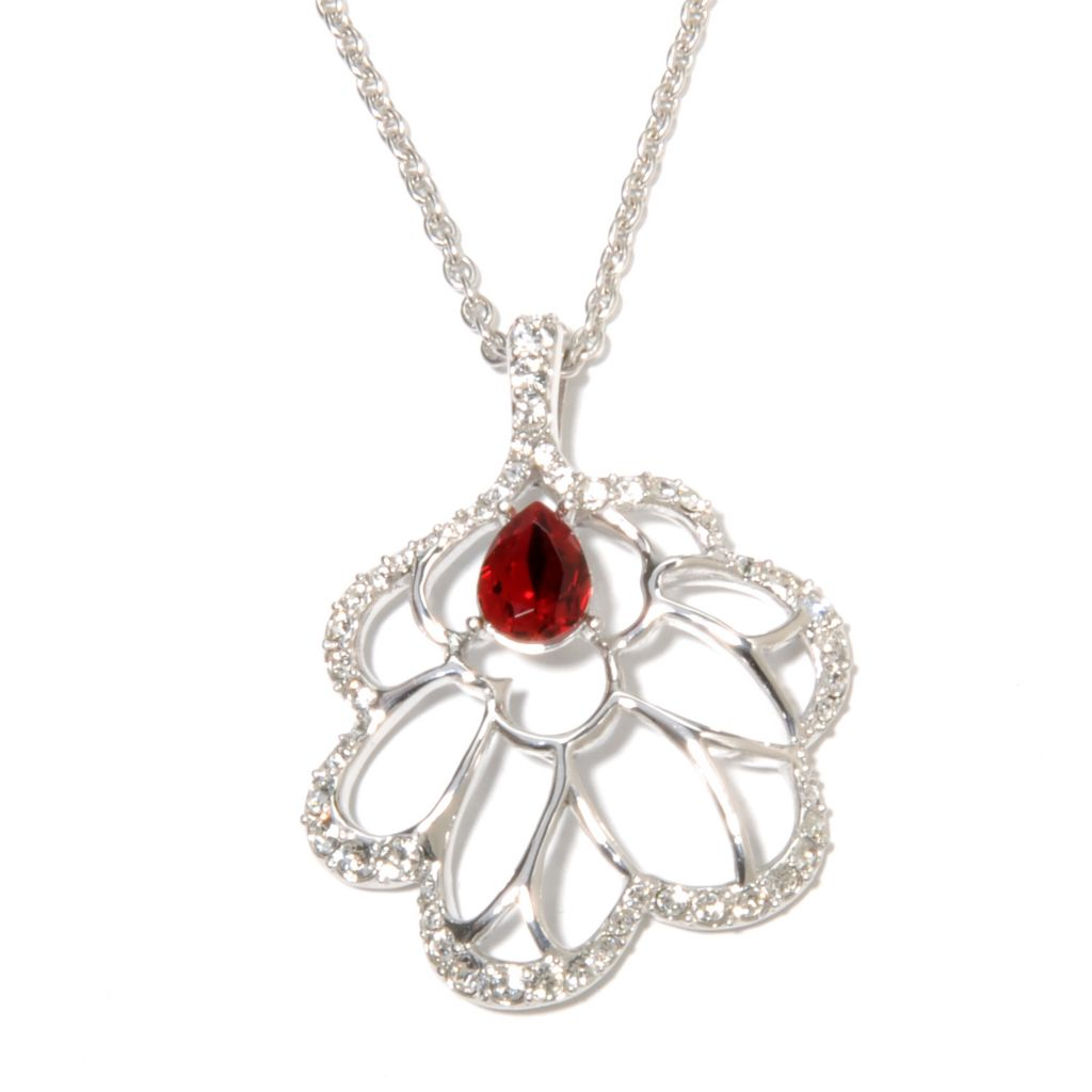 136-157 - Adaire™ Sterling Silver Openwork Flower Pendant Made w/ Swarovski® Elements