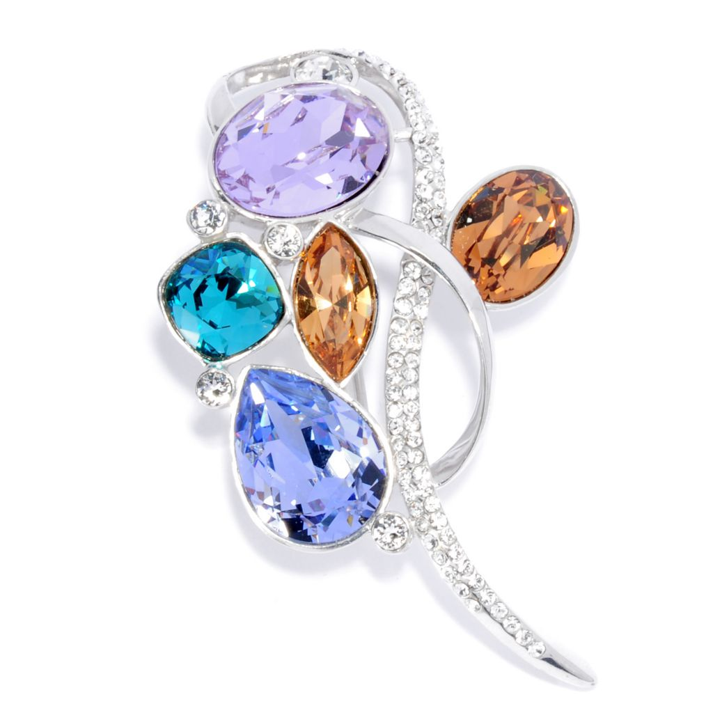136-162 - Adaire™ Sterling Silver Multi Color Swirl Pin Made w/ Swarovski® Elements