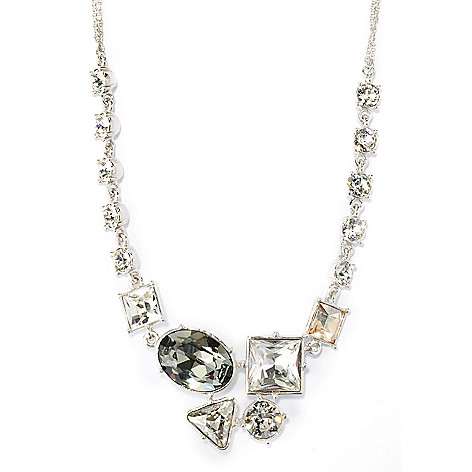136-163 - Adaire™ Sterling Silver 18'' Abstract Necklace Made w/ Swarovski® Elements
