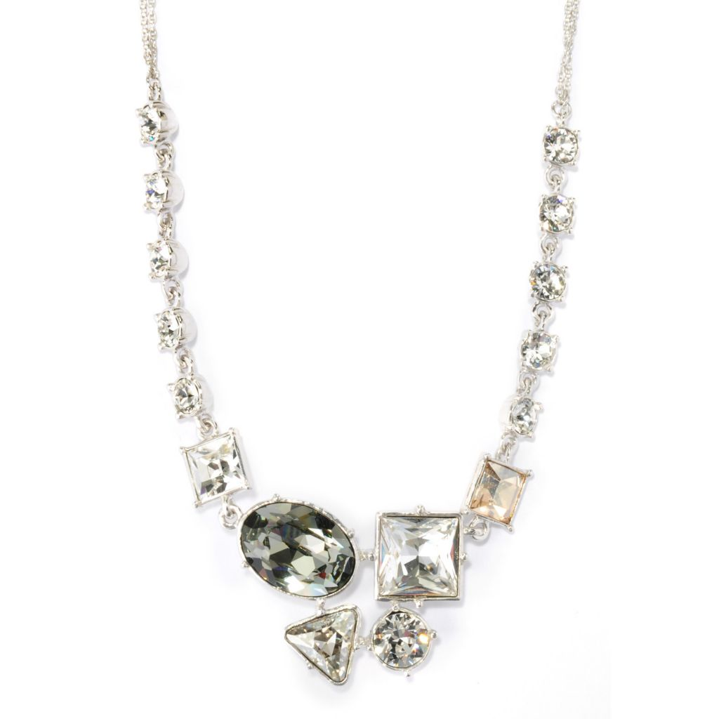 "136-163 - Adaire™ Sterling Silver 18"" Abstract Necklace Made w/ Swarovski® Elements"