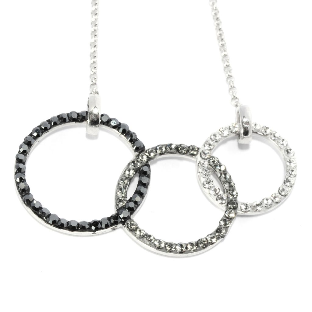 136-172 - Adaire™ Sterling Silver Tri-color Circle Necklace Made w/ Swarovski® Elements