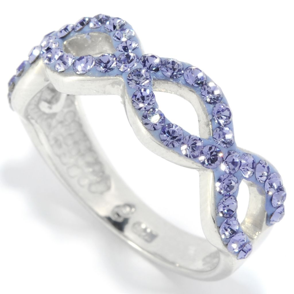 136-173 - Adaire™ Sterling Silver Twist Band Ring Made w/ Swarovski® Elements