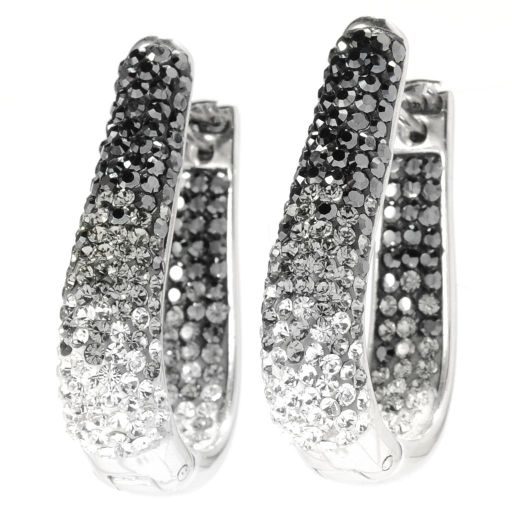 "136-177 - Adaire™ Sterling Silver 1.25"" J-Hoop Earrings Made w/ Swarovski® Elements"