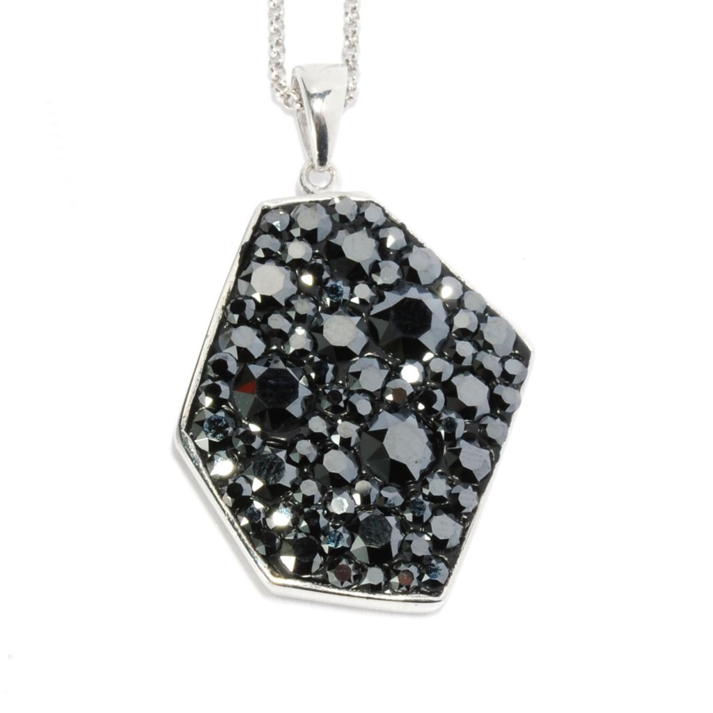 136-178 - Adaire™ Sterling Silver Irregular Shaped Pendant Made w/ Swarovski® Elements