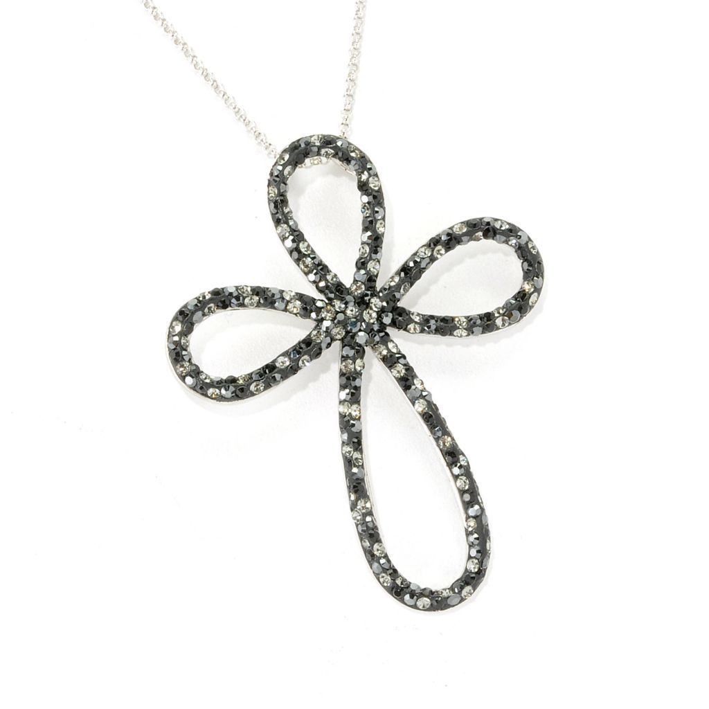 136-179 - Adaire™ Sterling Silver Cross Pendant & Chain Made w/ Swarovski® Elements