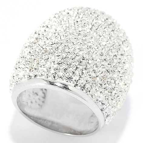 136-180 - Adaire™ Sterling Silver Wide Band Ring Made w/ Swarovski® Elements