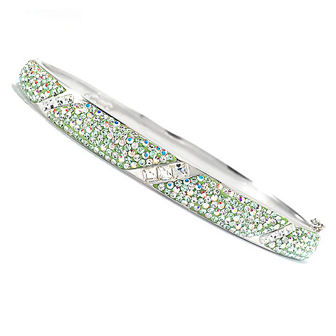136-183 - Adaire™ Sterling Silver 8.25'' Bangle Bracelet Made w/ Swarovski® Elements