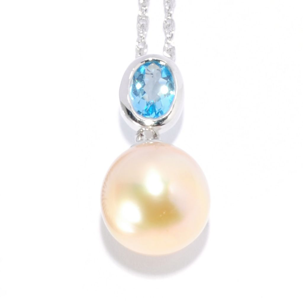 "136-184 -  Sterling Silver 9-11mm South Sea Cultured Pearl & Gemstone Pendant w/ 18"" Chain"