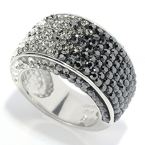 136-185 - Adaire™ Sterling Silver Ombre Band Ring Made w/ Swarovski® Elements