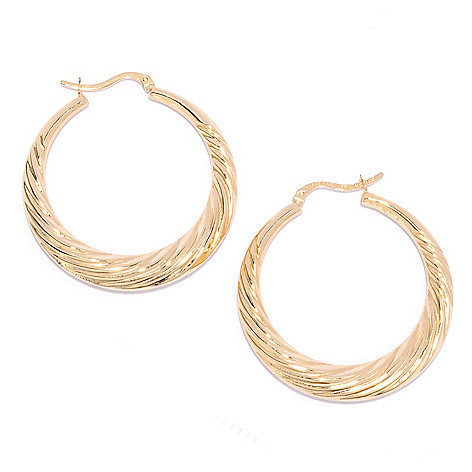 136-198 - Revalé™ 14K Bonded 1.5'' Twist Design Hoop Earrings