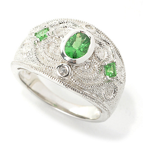 136-207 - Gem Treasures Sterling Silver Tsavorite & White Zircon Textured Scrollwork Ring