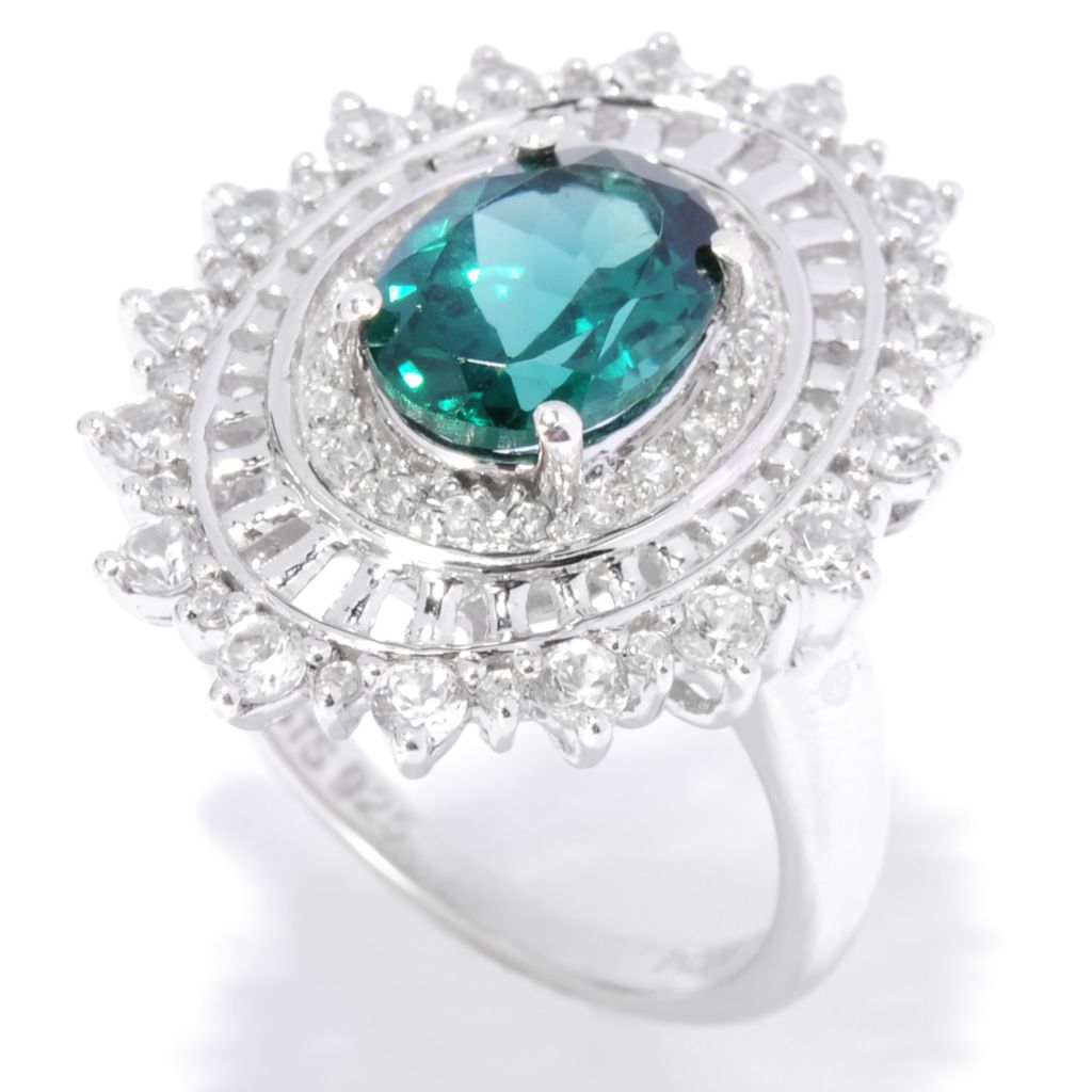 136-208 - NYC II 2.46ctw Oval Teal Apatite & White Zircon Halo Ring