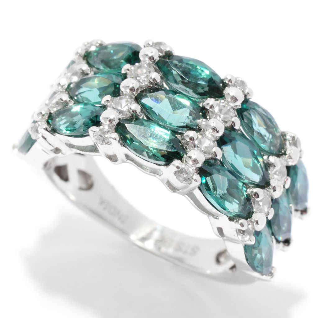 136-209 - NYC II 3.44ctw Marquise Shaped Teal Apatite & White Zircon Band Ring