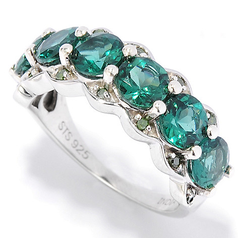 136-210 - NYC II 2.72ctw Round Teal Apatite & Green Diamond Band Ring