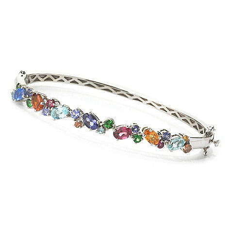 136-211 - NYC II 4.35ctw ''The Ites'' Scattered Multi Gemstone Hinged Bangle Bracelet
