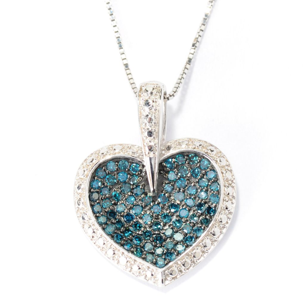 136-214 - Diamond Treasures Sterling Silver 0.51ctw Fancy Color Diamond Heart Pendant