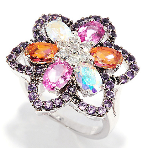 136-217 - Gem Treasures Sterling Silver 3.63ctw Amethyst & Multi Color Topaz Flower Ring