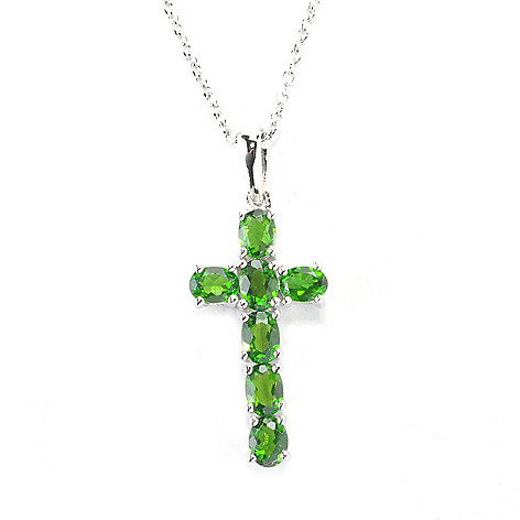 136-218 - Gem Treasures Sterling Silver 1.08ctw Gemstone Cross Pendant w/ 17.75'' Chain