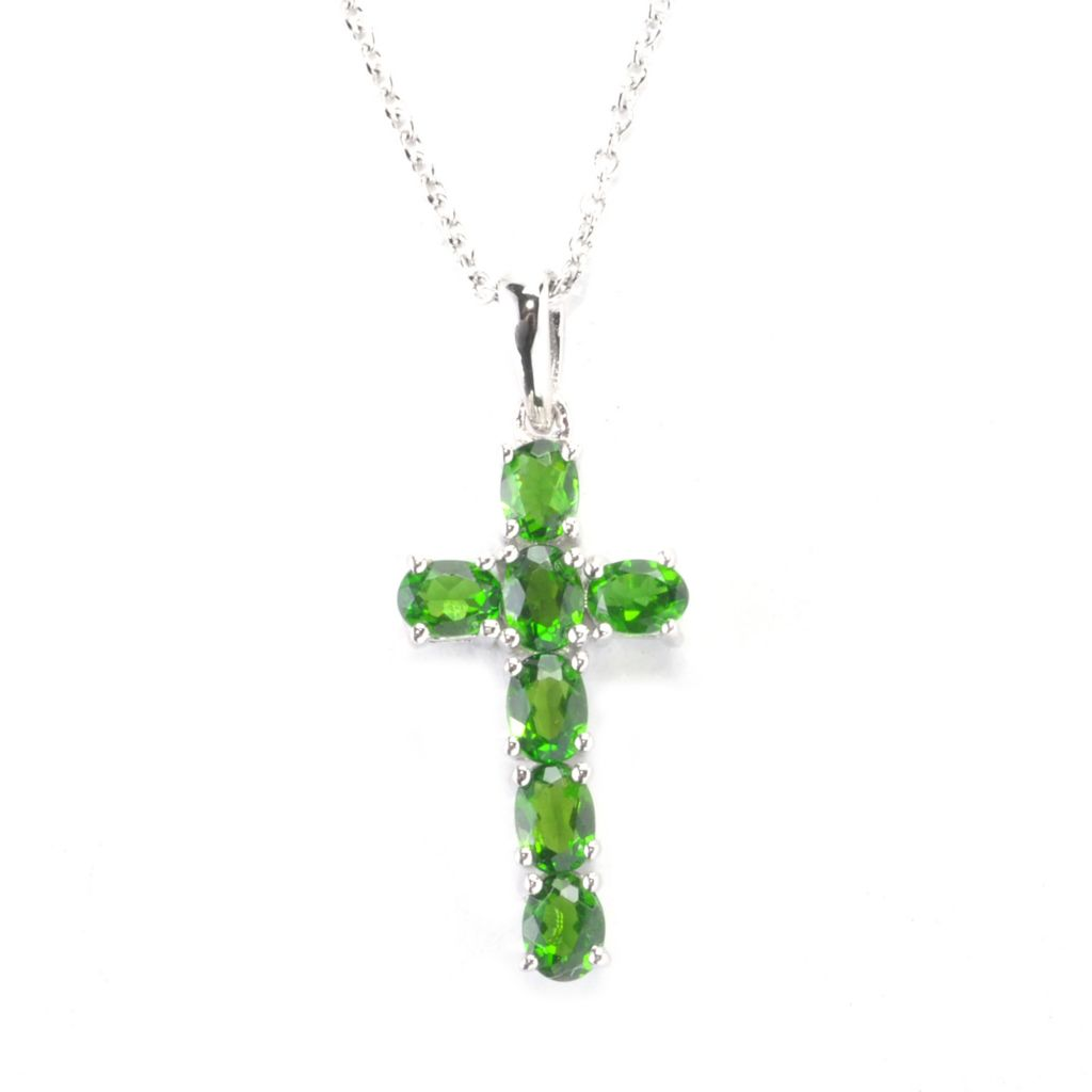 "136-218 - Gem Treasures Sterling Silver 1.08ctw Gemstone Cross Pendant w/ 17.75"" Chain"