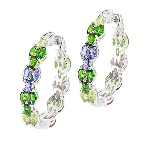 136-219 -  Gem Treasures Sterling Silver 1'' 6.67ctw Multi Gem Reversible Oval Hoop Earrings