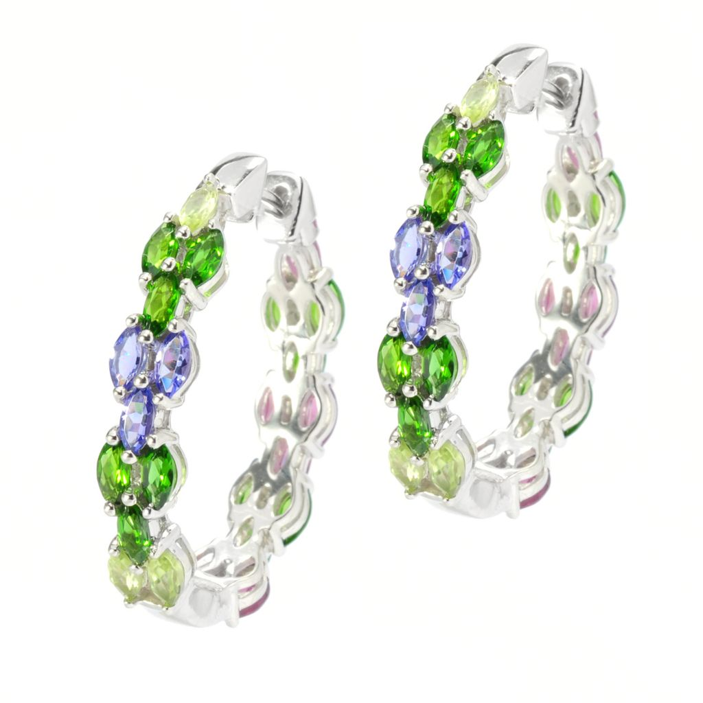 "136-219 -  Gem Treasures Sterling Silver 1"" 6.67ctw Multi Gem Reversible Oval Hoop Earrings"