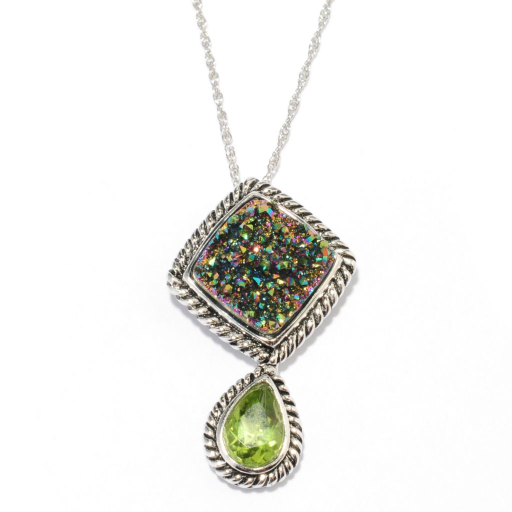 136-227 - Gem Insider Sterling Silver 12mm Multi Color Drusy & Peridot Pendant w/ Chain