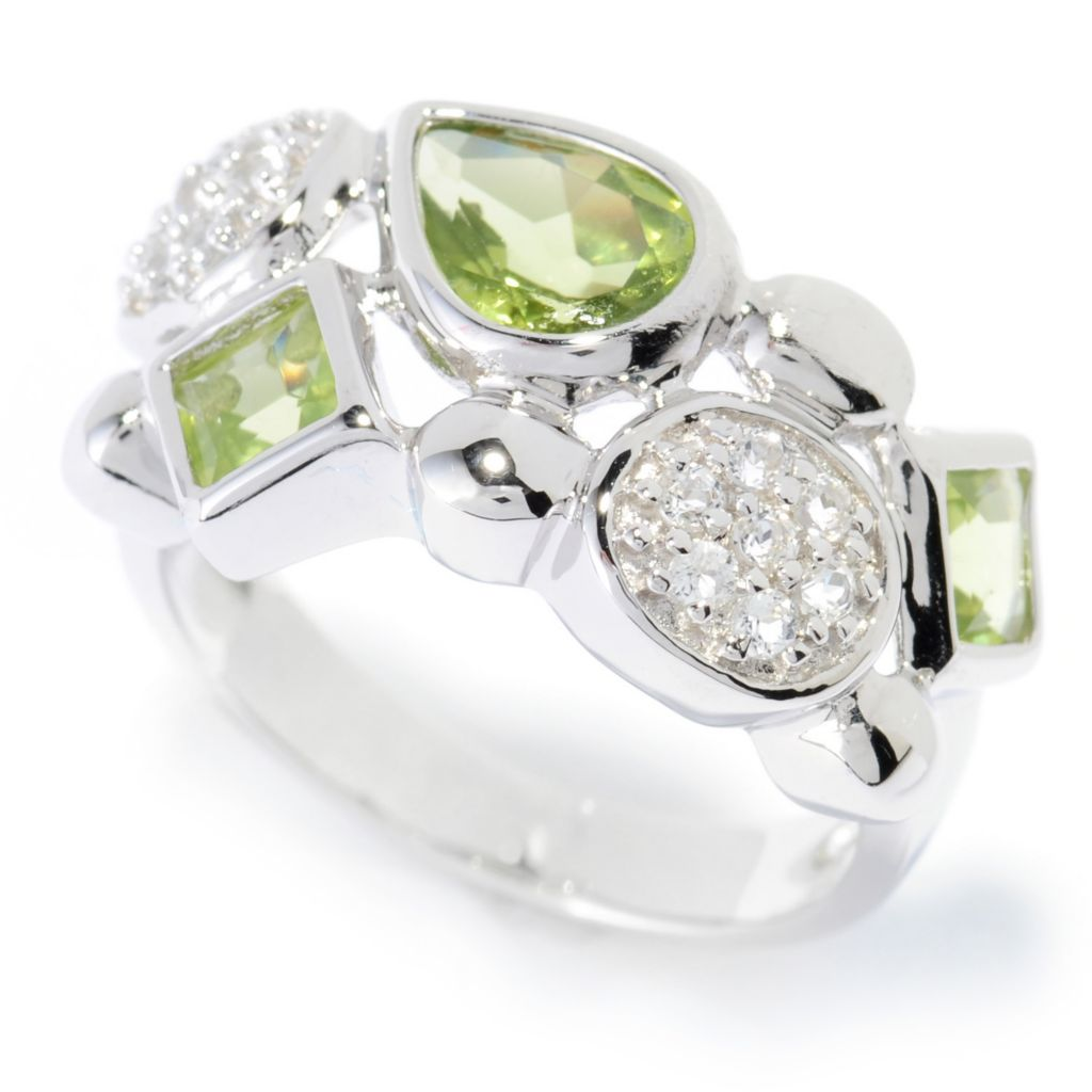 136-228 - Gem Insider Sterling Silver 1.88ctw Peridot & White Topaz Multi Shape Ring