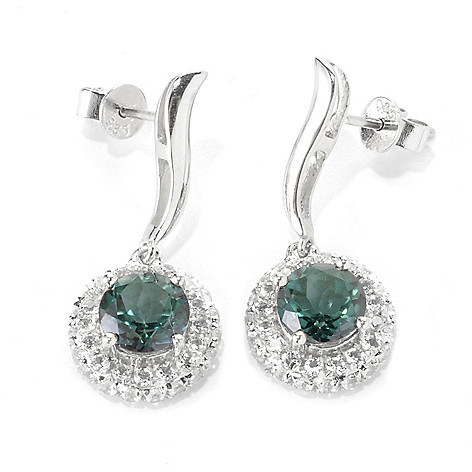 136-230 - Gem Treasures Sterling Silver 1'' 4.18ctw Topaz ''Kellie Anne'' Halo Drop Earrings