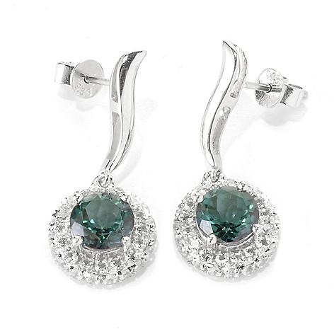 136-230 - Gem Treasures Sterling Silver 1'' 4.18ctw Topaz ''Kellie Anne'' Halo Drop Earrings