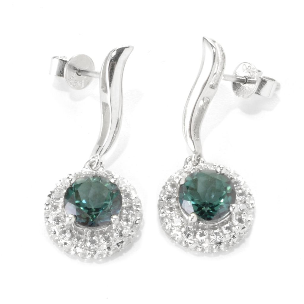 "136-230 - Gem Treasures Sterling Silver 1"" 4.18ctw Topaz ""Kellie Anne"" Halo Drop Earrings"