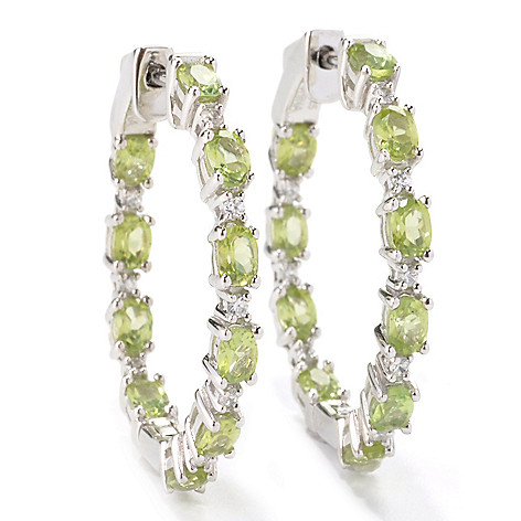 136-231 - Gem Treasures Sterling Silver 1.25'' Gemstone & White Zircon Hoop Earrings