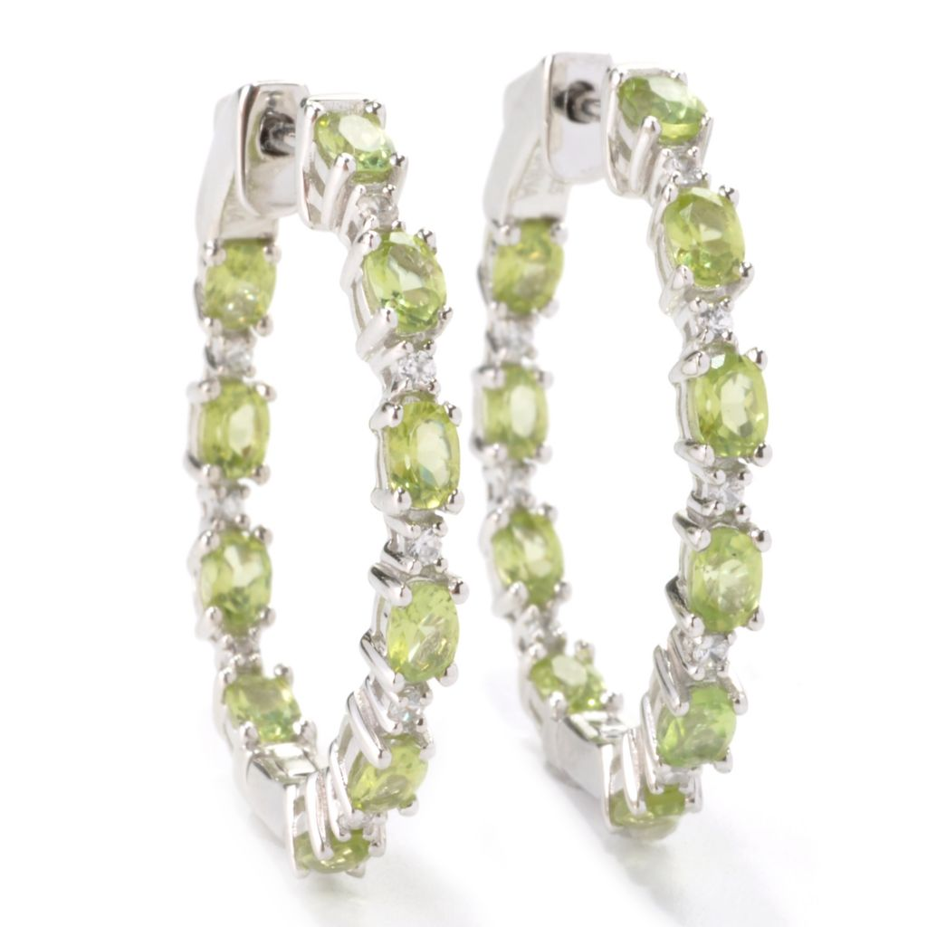 "136-231 - Gem Treasures Sterling Silver 1.25"" Gemstone & White Zircon Hoop Earrings"