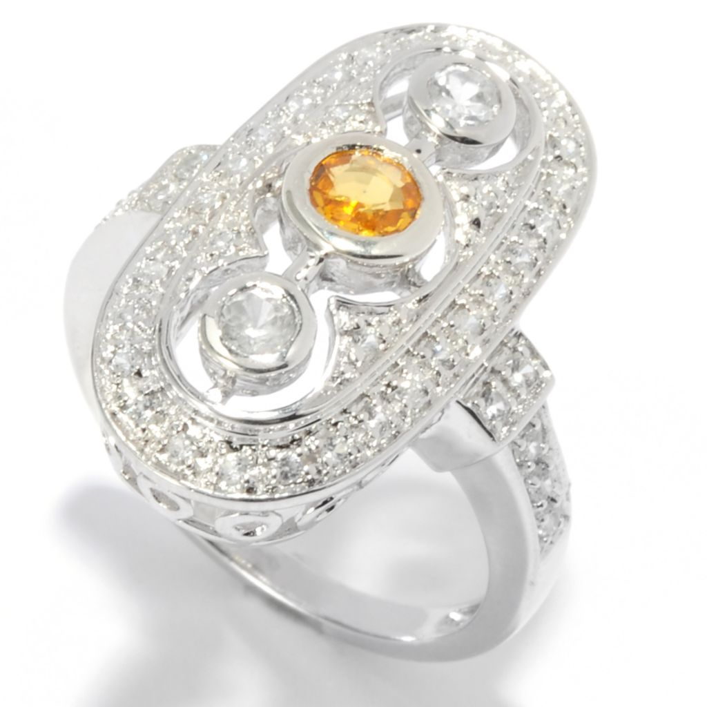 136-232 - Gem Treasures Sterling Silver 1.20ctw Yellow Sapphire & White Zircon Shield Ring