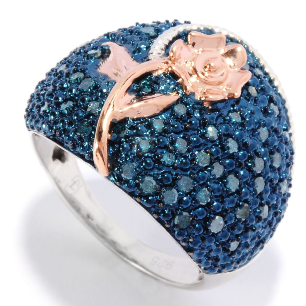 136-234 - Diamond Treasures Two-tone 0.48ctw Pave Blue Diamond Flower Overlay Ring