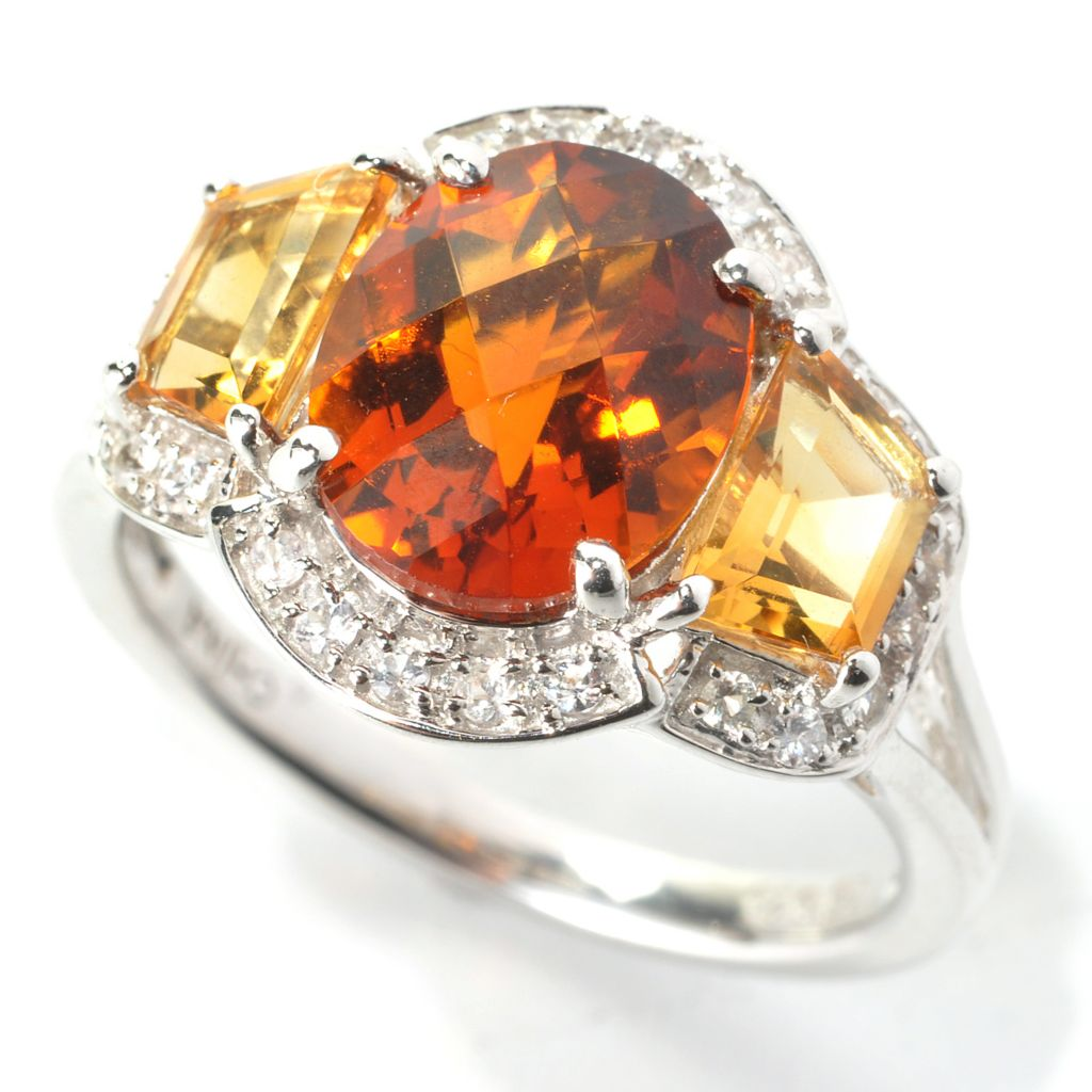 136-237 - Gem Insider Sterling Silver 3.10ctw Madeira Citrine & Multi Gemstone Ring