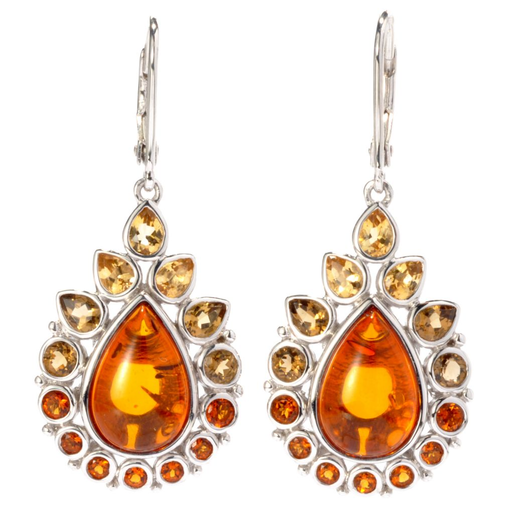 "136-238 - Gem Insider 1.5"" Sterling Silver 12 x 8mm Amber & Multi Citrine Earrings"