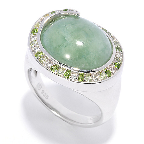 136-242 - Gem Insider Sterling Silver 14 x 12mm Jade & Multi Gemstone Swirl Halo Ring