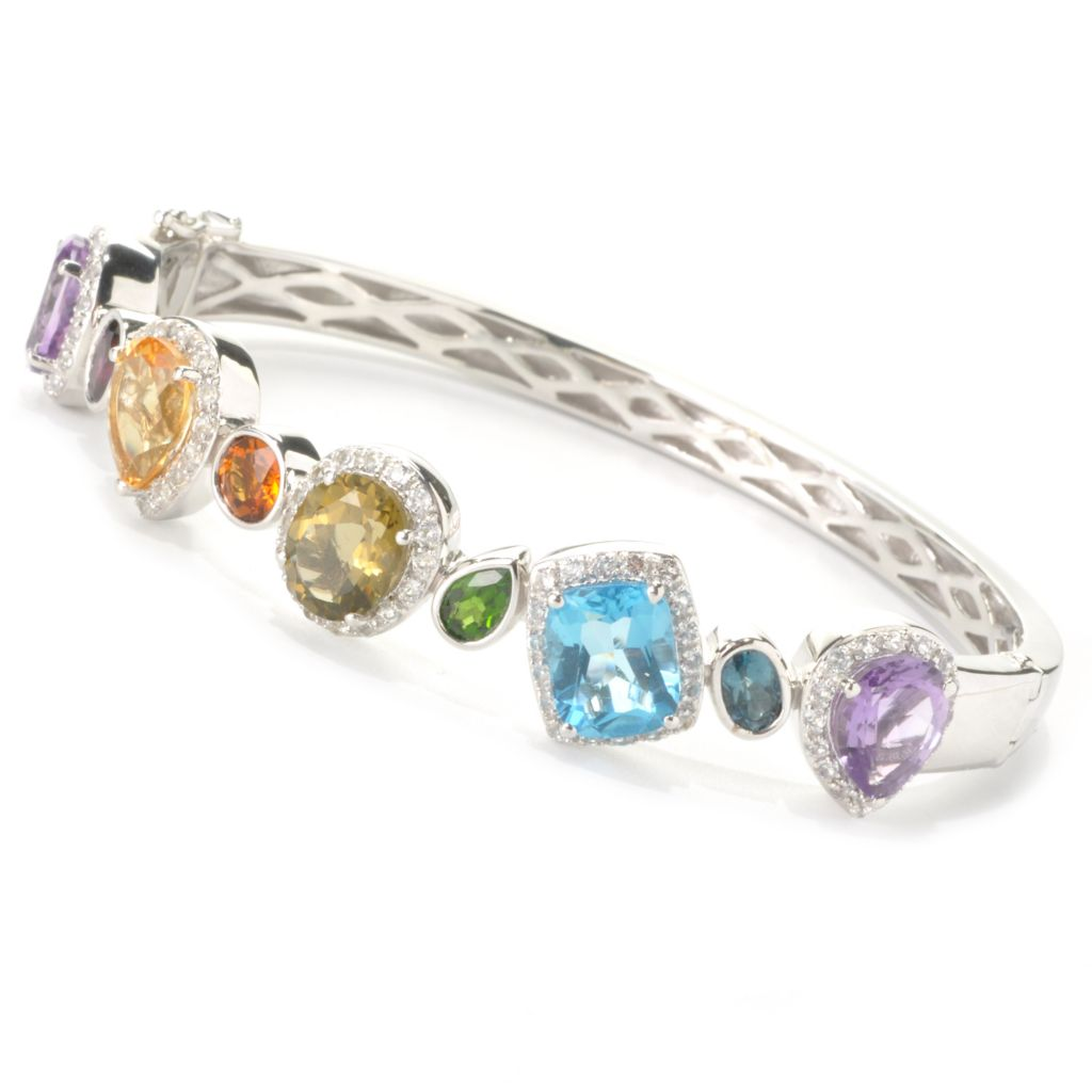 "136-243 - Gem Insider Sterling Silver 7.5"" 13.25ctw Multi Gemstone Bangle Bracelet"