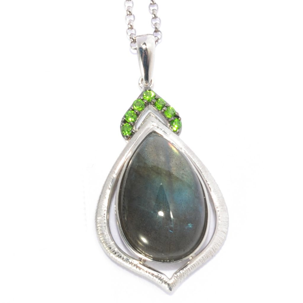 136-244 - Gem Insider Sterling Silver Labradorite & Chrome Diopside Pendant w/ Chain