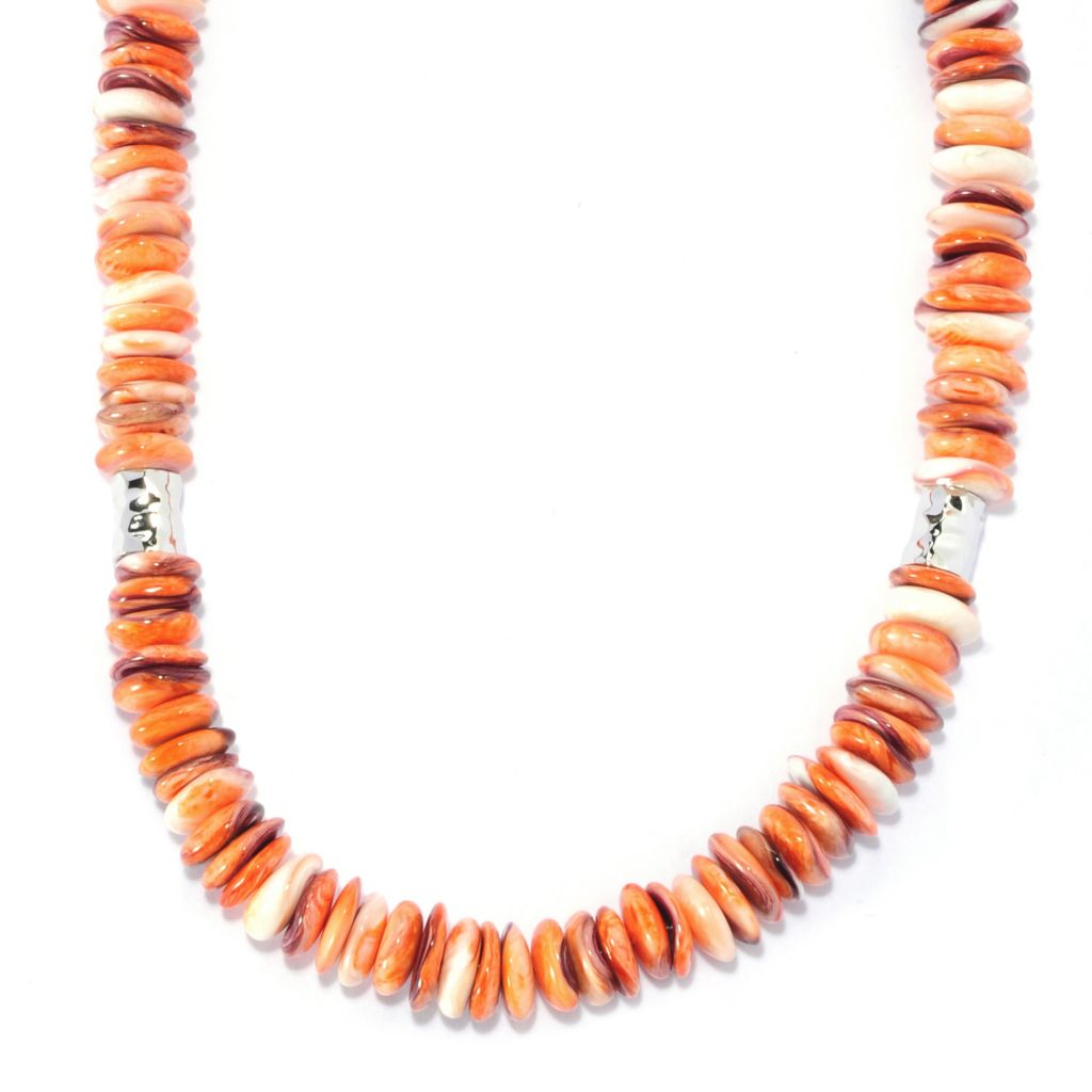 "136-246 - Gem Insider Sterling Silver 18"" Orange Spiny Oyster Shell Bead Necklace"