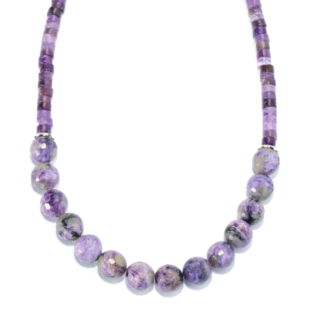 "136-247 - Gem Insider Sterling Silver 18"" Charoite & Amethyst Bead Necklace"