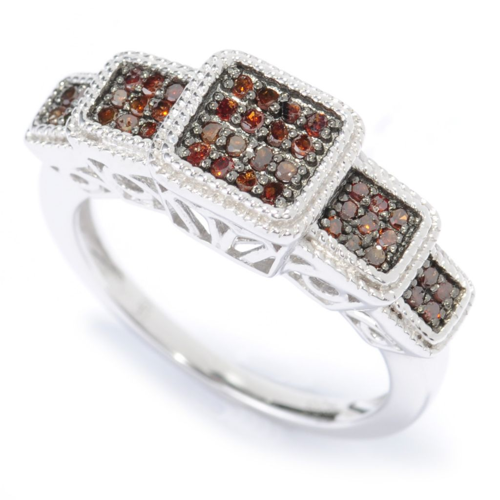 136-248 - Diamond Treasures Sterling Silver Terraced 0.25ctw Fancy Color Diamond Ring