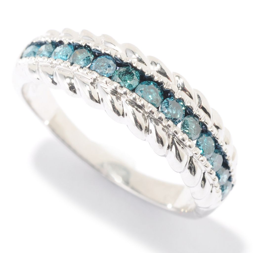 136-249 - Diamond Treasures Sterling Silver 0.42ctw Fancy Color Diamond Twisted Stack Ring