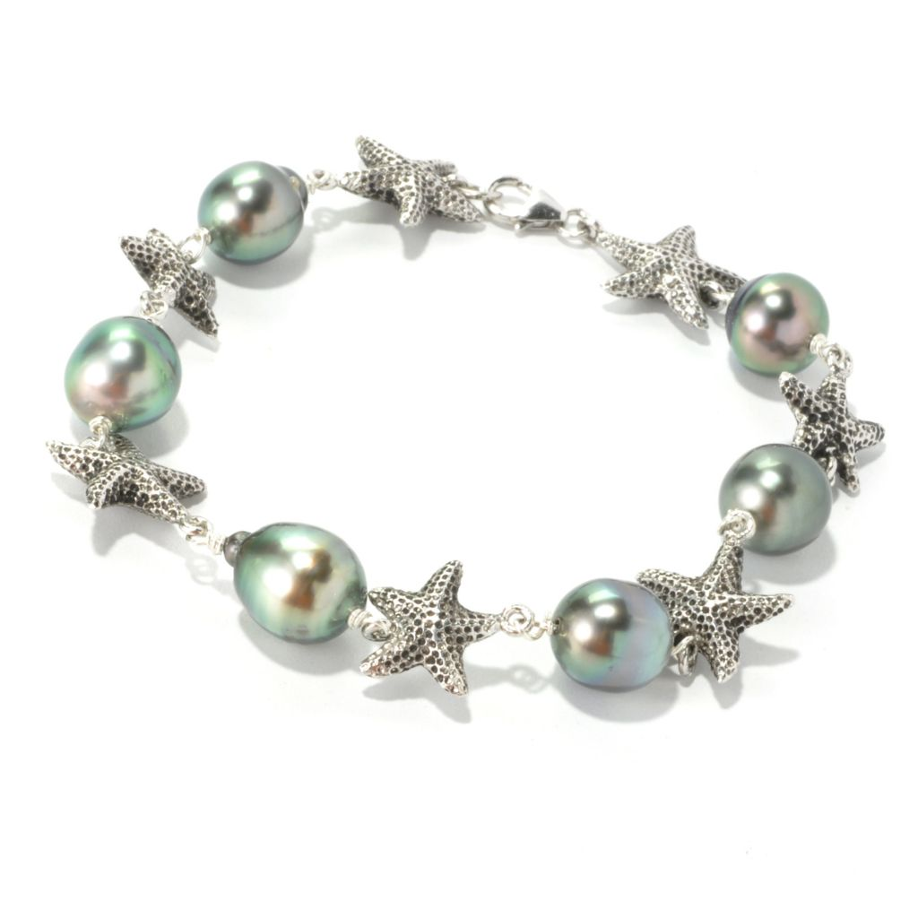"136-252 - Sterling Silver 8"" 9-10mm Black Tahitian Cultured Pearl Starfish Bracelet"