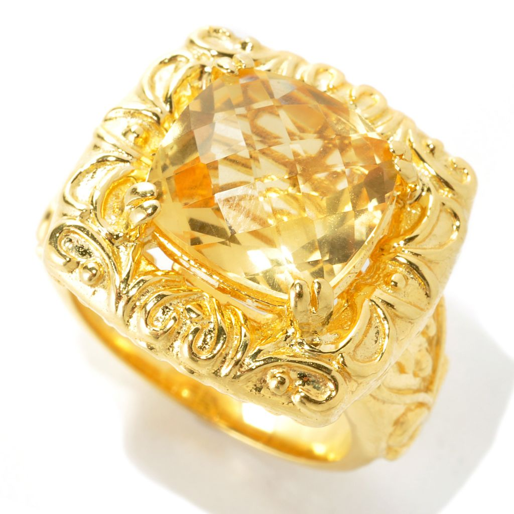 136-255 - Portofino 18K Gold Embraced™ Checkerboard Cut 5.00ctw Citrine Scrollwork Ring