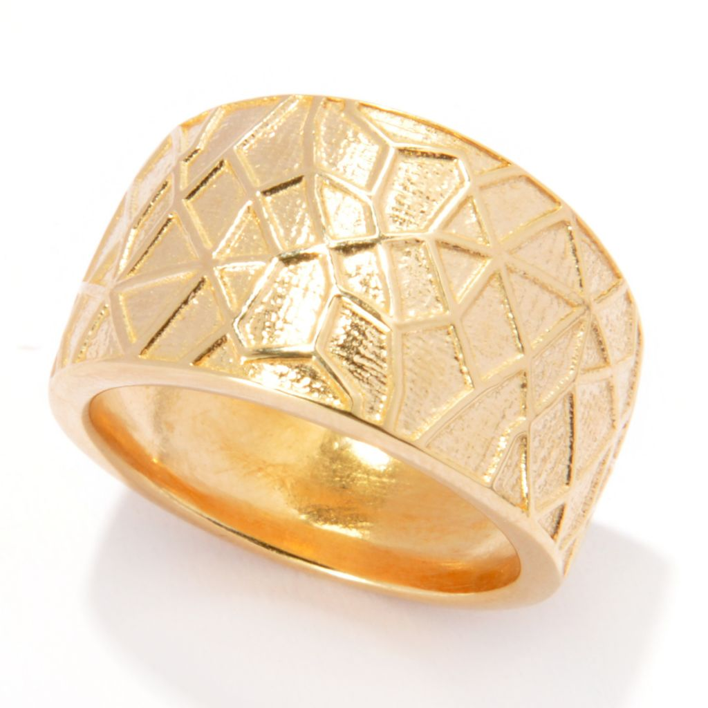 136-256 - Portofino Gold Embraced™ Polished & Spider Web Textured Band Ring