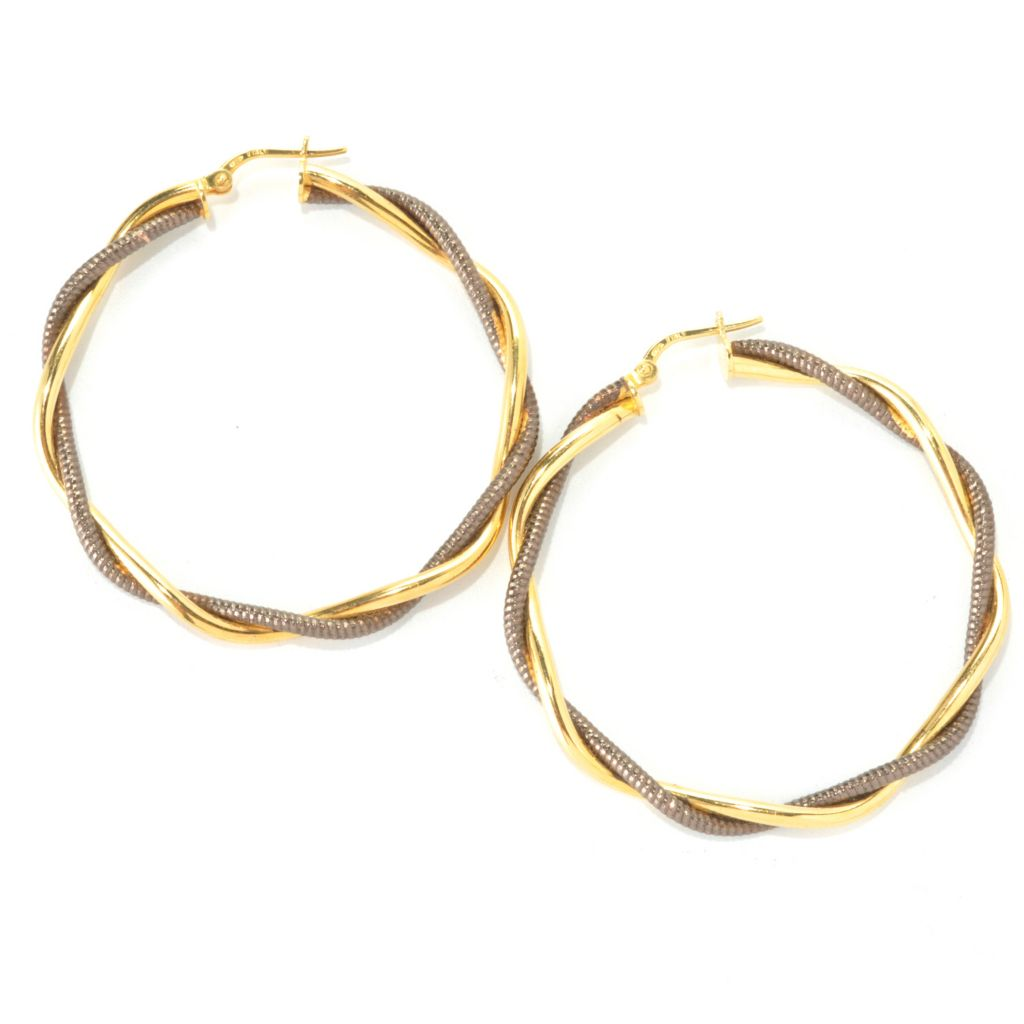 136-260 - Portofino 18K Gold Embraced™ Diamond Cut & Polished Twisted Hoop Earrings