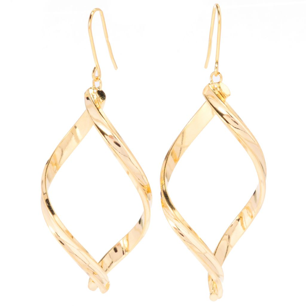 "136-264 - Portofino 18K Gold Embraced™ 2.5"" Twisted Marquise Shaped Dangle Earrings"